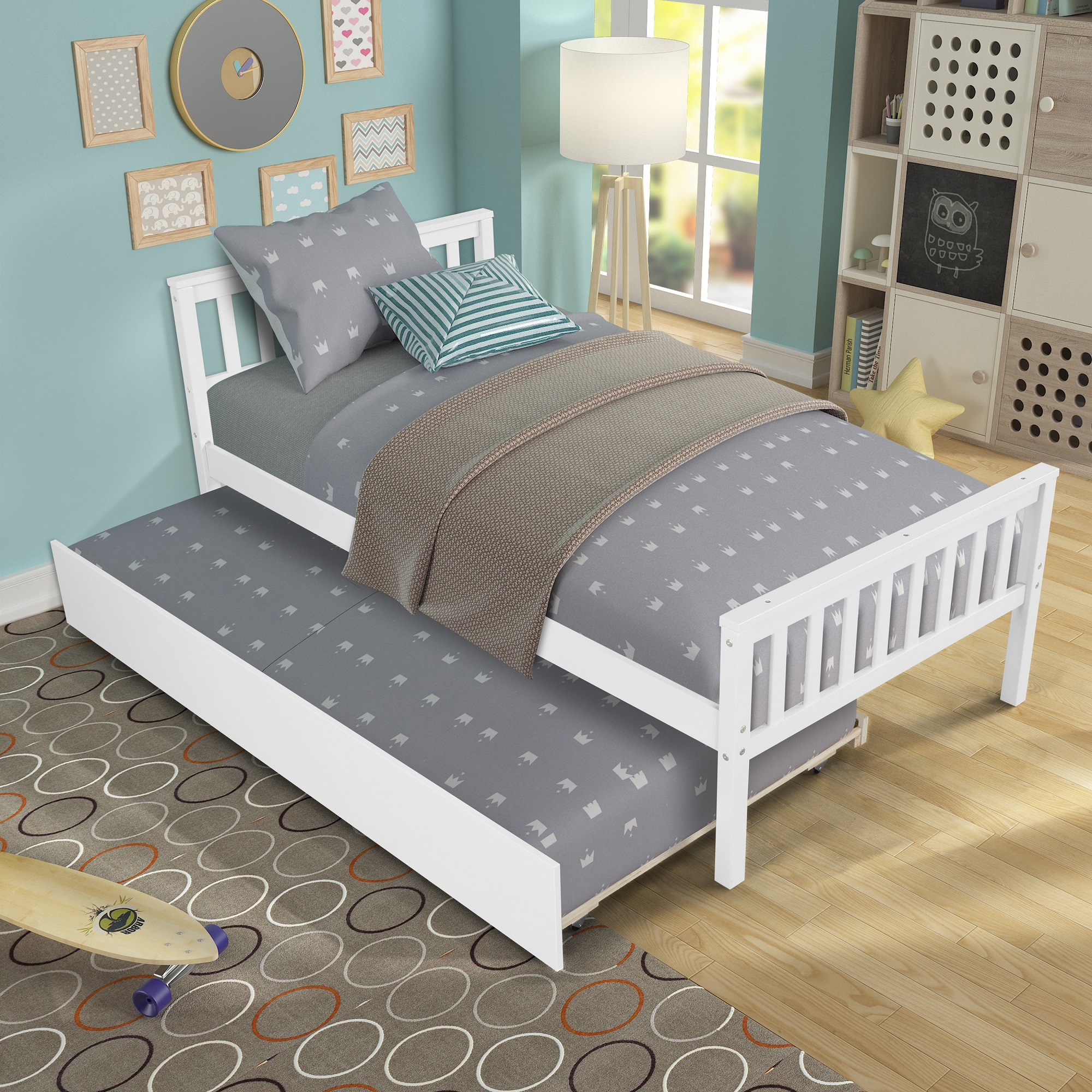 UHOMEPRO Twin Bed Frame with Headboard, Solid Wood Bed for Teens