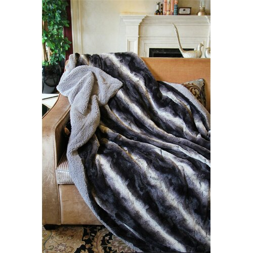 Tache Home Fashion Striped Faux Fur Throw Blanket