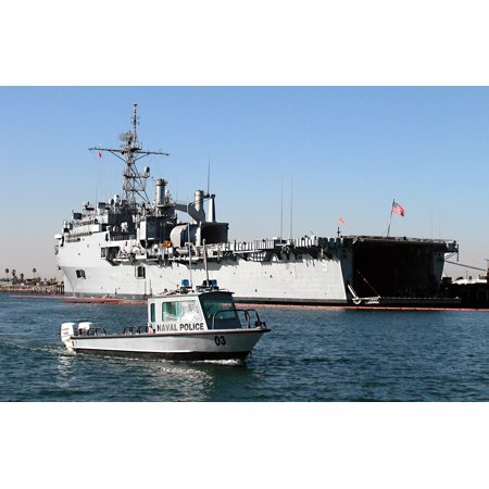 Canvas Print Security personnel patrol the waters of Anaheim Bay while the amphibious transport dock ship US Stretched Canvas 10 x 14 Anaheim 14' Art Glass