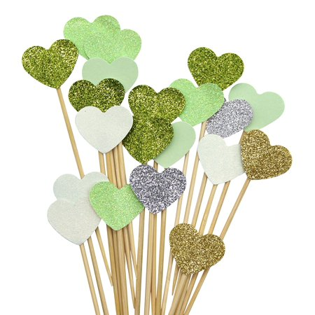 PuTwo Handmade 20 Counts 6 Colours Peach Heart Cake Toppers Wedding Decoration Party Supplies Cupcake Toppers- Green Heart - Heart Cake Topper