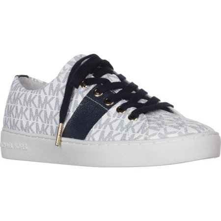 Womens MICHAEL Michael Kors Keaton Lace Up Signature Fashion Sneakers - White/Navy Logo