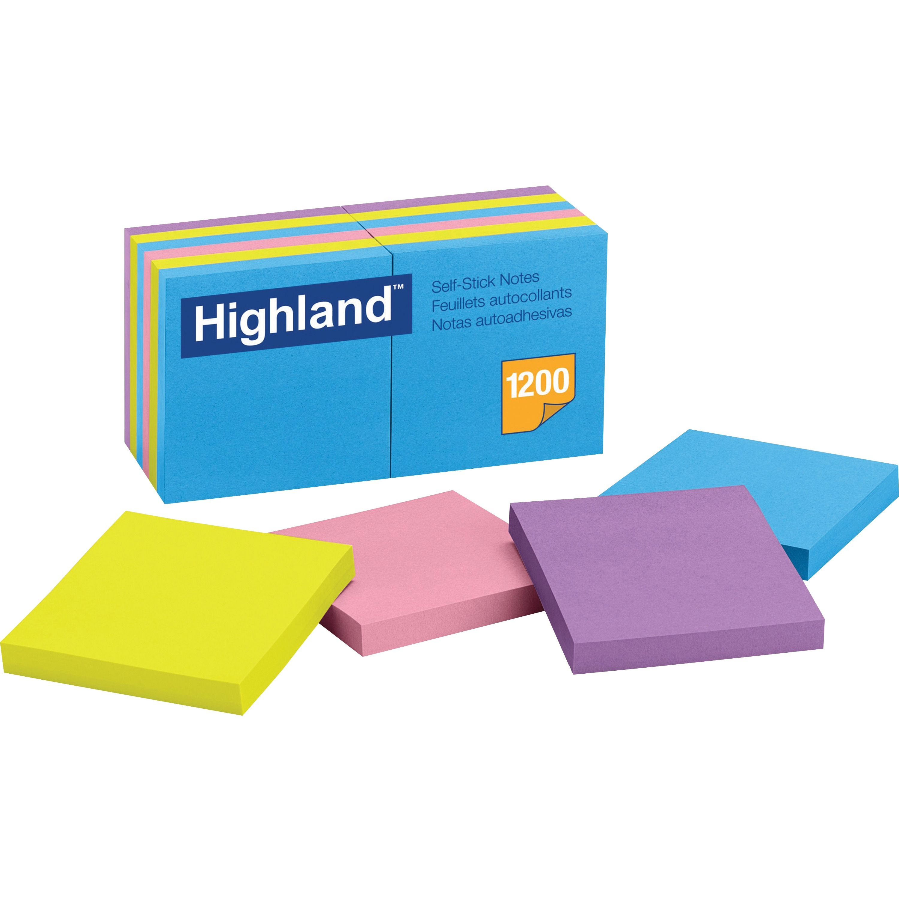 Highland, MMM6549B, Bright Self-stick Removable Notes, 12 / Pack, Bright Assorted