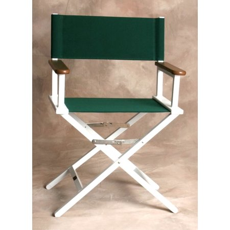 White Monterey Director Chair with Forest Green Fabric