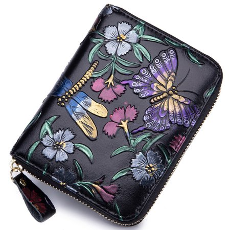 Print Large Wallet (Women's RFID Blocking Genuine Leather Floral Print Large Capacity Zipper)