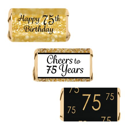 75th Birthday Party Decoration Stickers for Hershey's Miniatures Candy Bars - Gold and Black (Set of 54)