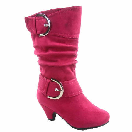 Auto 8k Youth  Girl's Kid's Zipper  Low Heel Round Toe Buckle Dress Boot ()