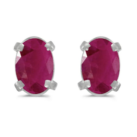 14k White Gold Oval Ruby Earrings 14k 6x4mm Oval Ruby Earring