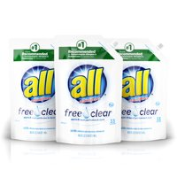 all Liquid Laundry Detergent Easy-Pouch, Free Clear for Sensitive Skin, 3 Count, 99 Total Loads