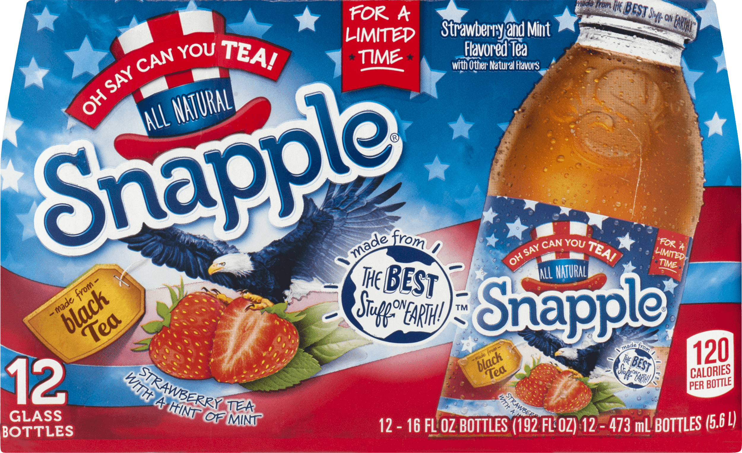 Snapple Strawberry Tea With A Hint of Mint - 12 CT - Walmart com