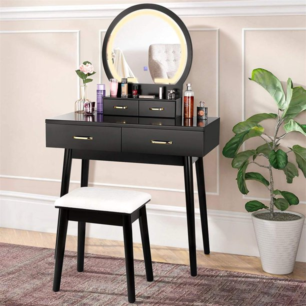 Amzdeal Vanity Set With Lighted Mirror, Black Vanity Set With Lighted Mirror And Stool