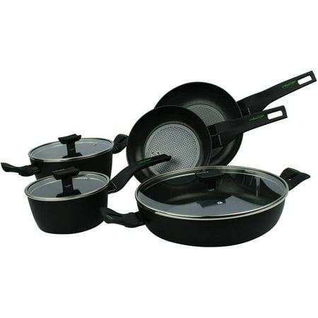 "Moneta 8pc Nova Set with Includes 8.5"" and 10"" Fry Pans, 1.5 Qt. Covered Sauce Pan, 3.75 Qt./11.5"" Covered Saute Casserole and 5 Qt. Dutch Oven"
