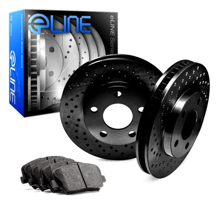 Fits 1991 1992 1993 1994 1995 1996 Dodge Dakota Front Black Drilled Brake Disc Rotors & Ceramic Brake