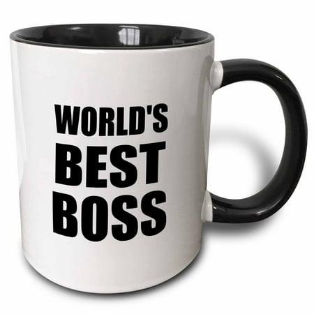 3dRose Worlds Best Boss in black - great text design for the greatest boss - Two Tone Black Mug, (Best The Boss 2)