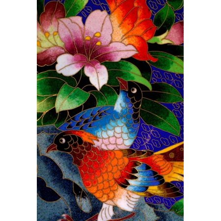 Bird Cloisonne Plate Hand Made with Tiny Copper Wires and Powered Enamel China Canvas Art - Cindy Miller Hopkins DanitaDelimont (23 x 34)