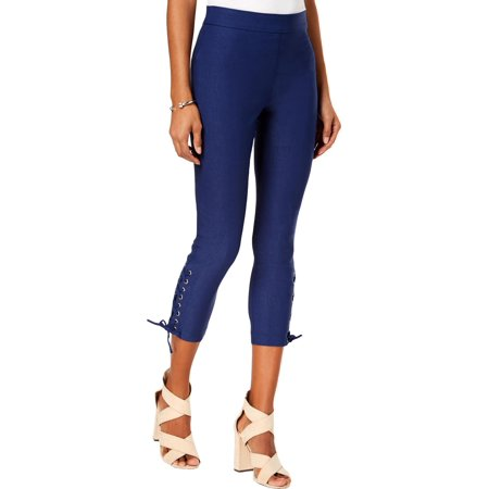 XOXO Womens Dancer Lace-Up Cropped Skinny Pants Blue 2