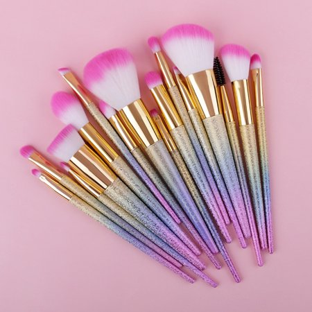 Docolor Unicorn Makeup Brushes Set 16Pcs - Unicorn Halloween Costume Makeup