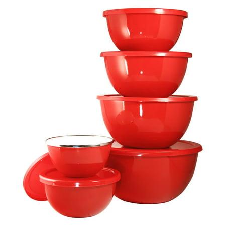 Calypso Basics, 12pc Enamel on Steel Bowl Set, Red (Enameled Bells)