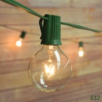 Fantado 25 Socket Outdoor Patio String Light Set, G40 Clear Globe Bulbs, 28 FT Green Cord w/ E12 C7 Base by PaperLanternStore