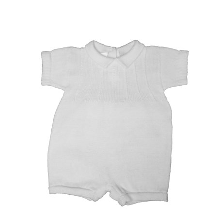 Cotton Knit Romper - Christening Day Boys White Cotton Knit Short Sleeve Romper with Subtle Embroidered Cross