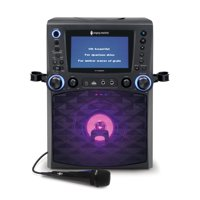 """Singing Machine STVG885BK Bluetooth Karaoke System with 7"""" Color Monitor, CG+G, and a Microphone, Black"""