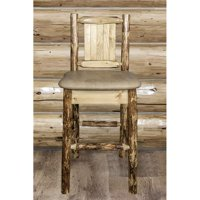 Montana Woodworks MWGCBSWNR24BUCKLZBEAR Glacier Country Counter Height Barstool with Back - Buckskin Upholstery with Laser Engraved Bear Design
