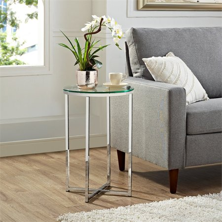 16 inch Round Side Table - Glass top with Chrome base