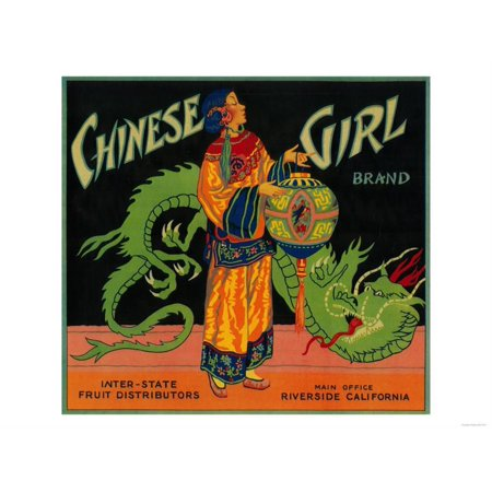 Chinese Girl Orange Label - Riverside, CA Print Wall Art By Lantern Press - Halloween Parties Riverside Ca