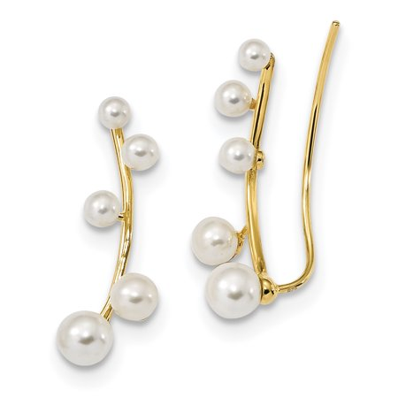 Silver Tone White Pearl (925 Sterling Silver Gold Tone 3 6mm White Freshwater Cultured Pearl Ear Climber Earrings Drop Dangle Ball Button Stud For Women Gift)