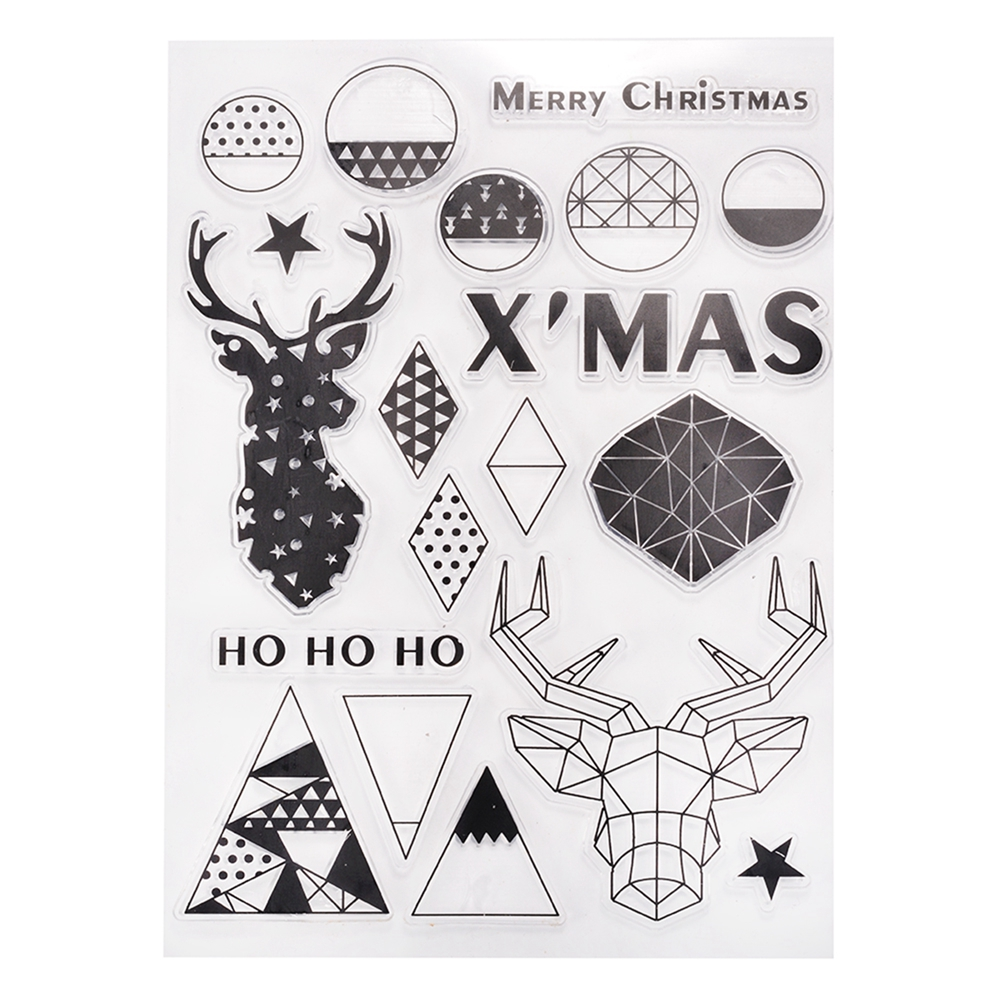 1pcs PVC Clear Stamps DIY Scrapbooking Craft Card Kindergarten Teacher Prizes Stamps for Kids Party Favor Toy Gift Stamping Supplies Christmas Series YC57 Art Ink Set