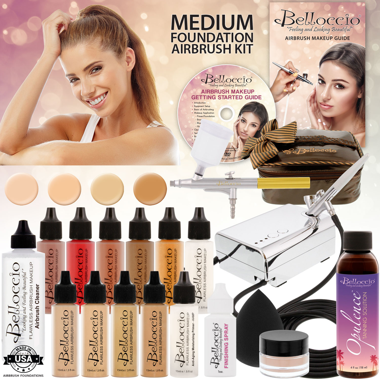 Belloccio Makeup and Tanning Airbrush System with MEDIUM ...