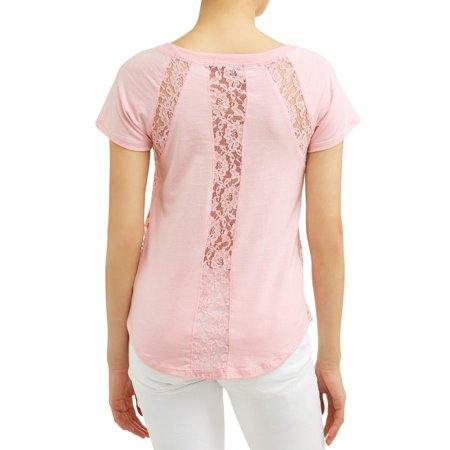 Juniors' Crochet Lace Trim Short Sleeve T-Shirt