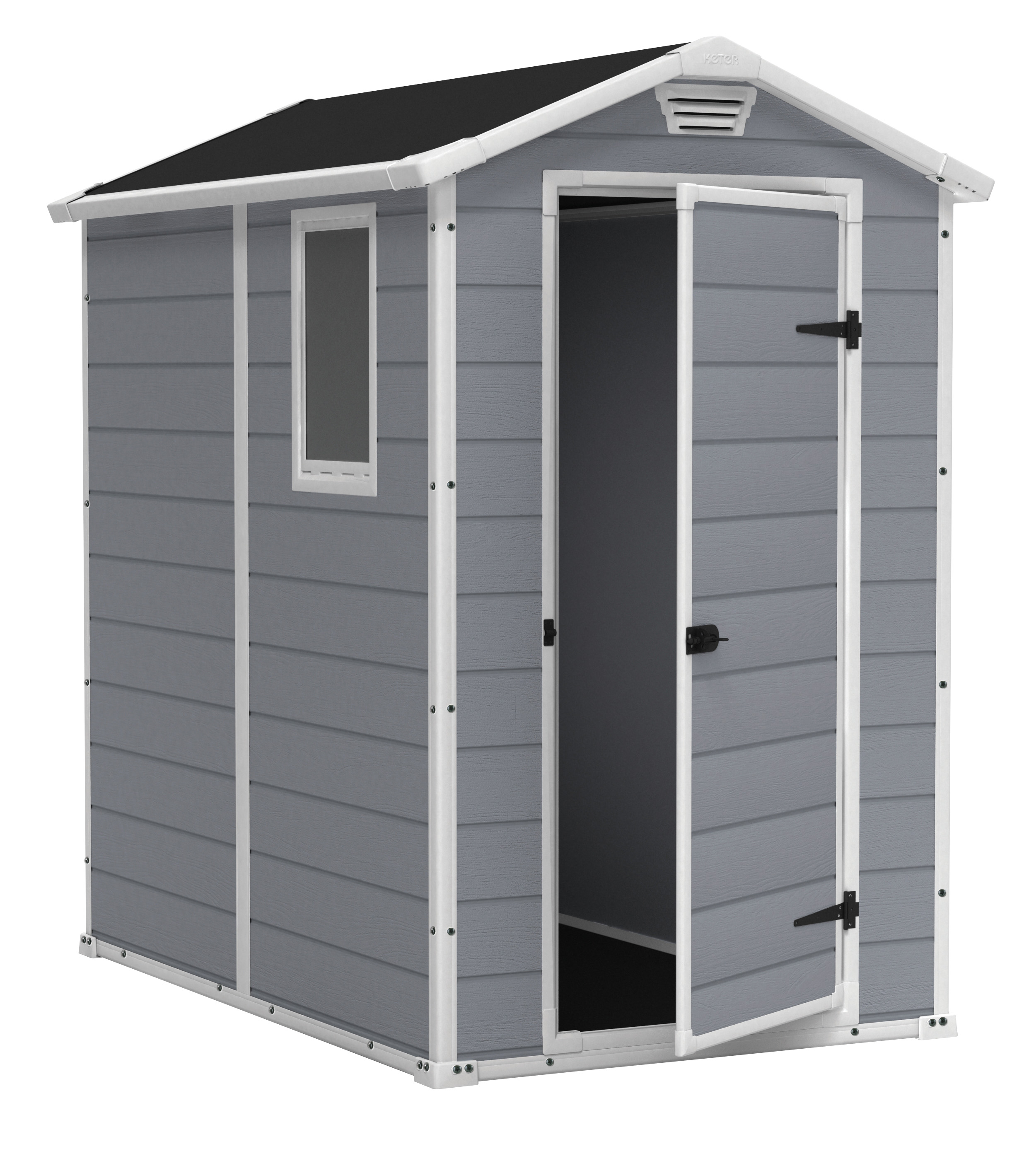 Keter Manor 4' x 6' Resin Storage Shed, All-Weather Plastic Outdoor Storage, Gray White by Keter