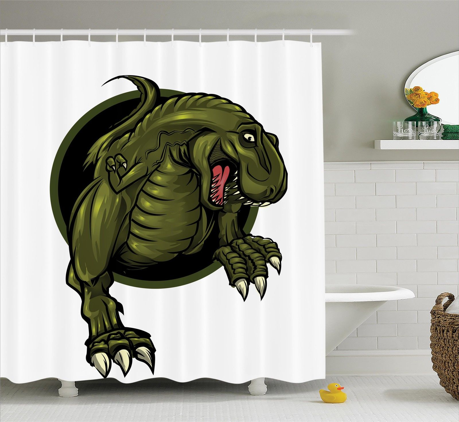 Jurassic Decor Shower Curtain Set, Roaring T-Rex Mascot Ancient Animal Teeth Horror Wildlife Wilderness Extinct, Bathroom Accessories, 69W X 70L Inches, By Ambesonne