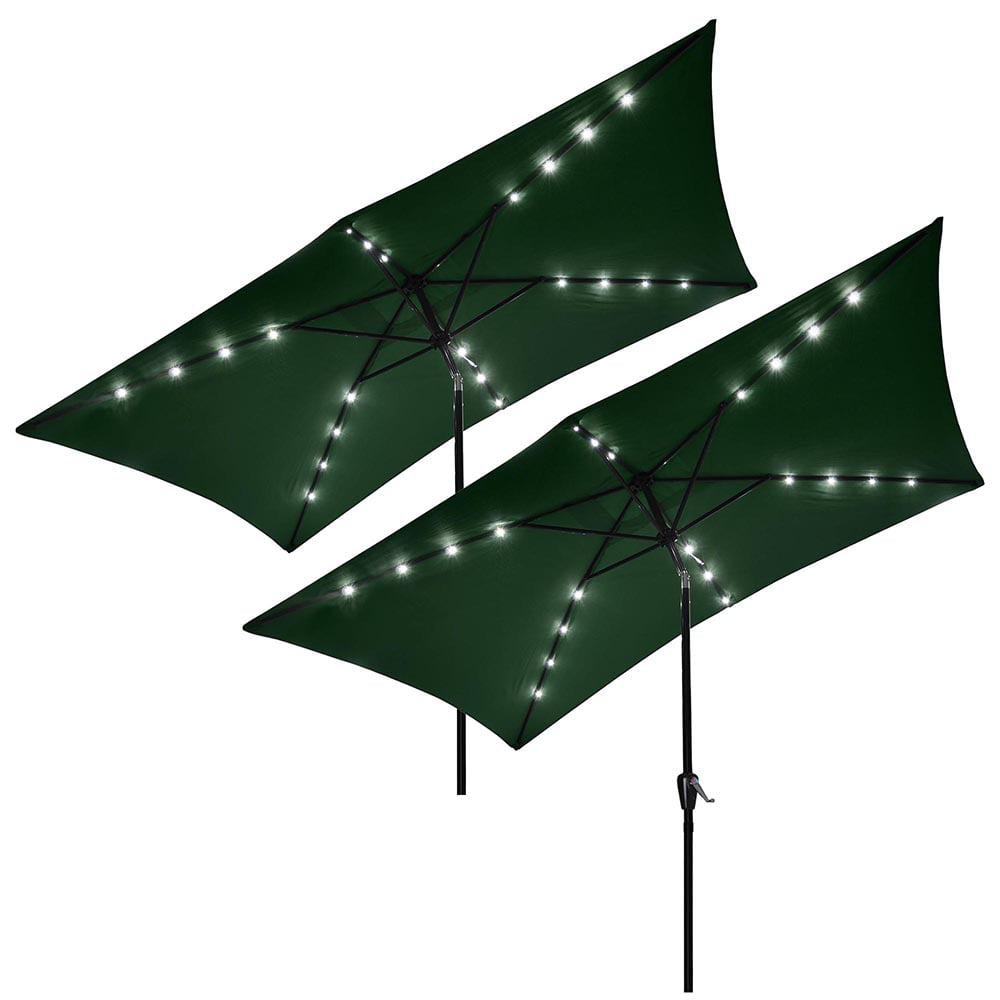 Yescom 10 X6 5 Rectangle Aluminum Solar Outdoor Crank Tilt Patio Umbrella For Yard Poolside Garden Market Pack Of 2 Walmart Com Walmart Com