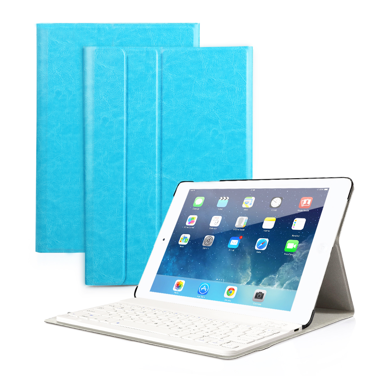 CoastaCloud Apple NEW iPad 2017 Wireless Bluetooth Keyboard 9.7 inch with Stand Folio Case Cover Rechargeable USB Cable Removeable Keyboard PU Leather