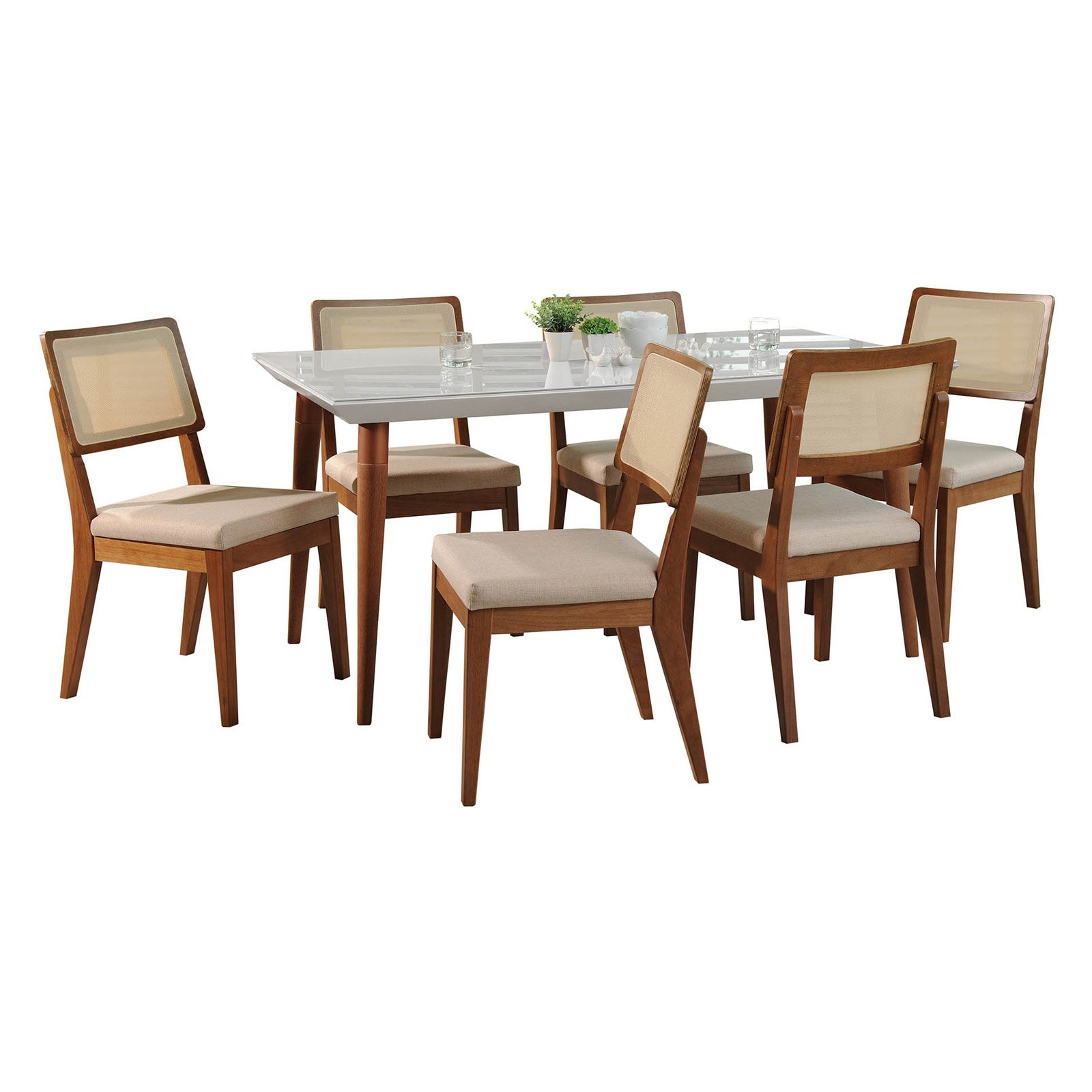 Manhattan Comfort Utopia and Pell 7 Piece Dining Table Set