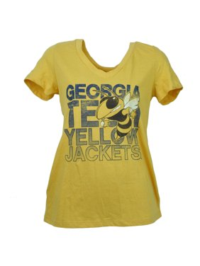 NCAA Georgia Tech Yellow Jackets V Neck Tshirt Tee Womens Short Sleeve Large