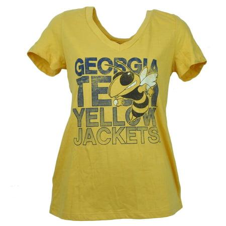 NCAA Georgia Tech Yellow Jackets V Neck Tshirt Tee Womens Short Sleeve Large