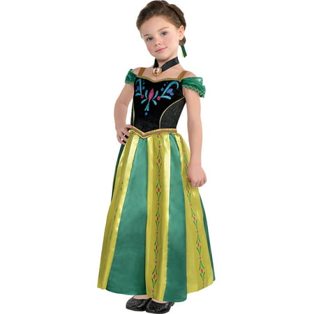 Costumes USA Frozen Anna Coronation Costume for Girls, Includes a Dress, a Hair Comb, and a Necklace](Anna Coronation Dress)