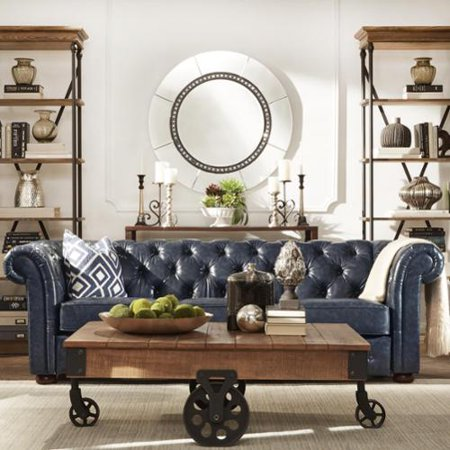 Signal Hills Knightsbridge Navy Blue Bonded Leather Tufted Scroll Arm Chesterfield Seating Loveseat And Sofa