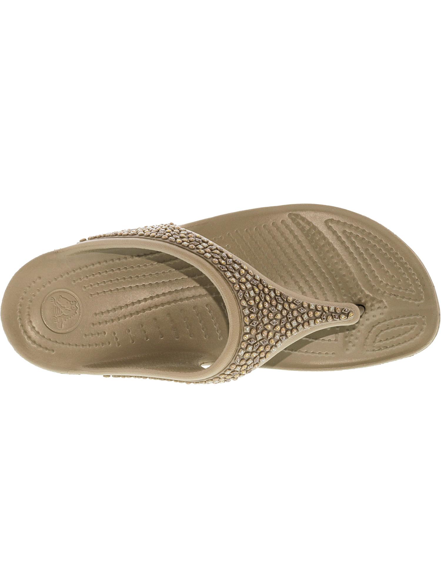 6ed2c9cc83fa8 Crocs Women s Sloane Embellished Flip Gold Metallic Sandal - 8M