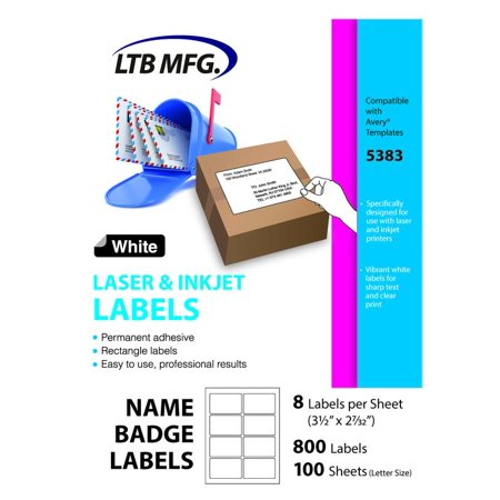 LTB MFG Laser Inkjet Printer Shipping Labels, 100 Labels, 100 White Sheets, 8 Labels Per Sheet 3.5