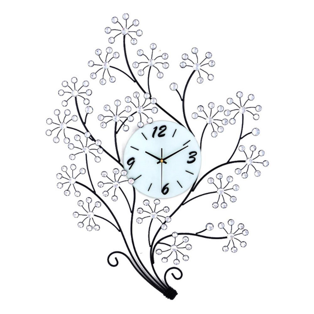"Magshion 3D Large Flower Tree Crystal Iron Wall Clock W/ Wall Hooks Large 30.7""L 23.6""W Decorative"