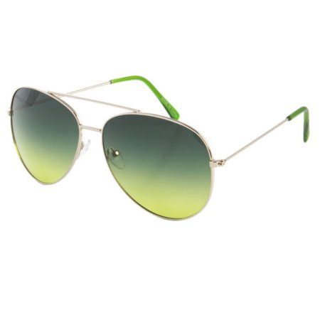 CLASSIC AVIATOR SUNGLASSES BLUE RED YELLOW COLOR TINTED LENS SILVER METAL FRAME