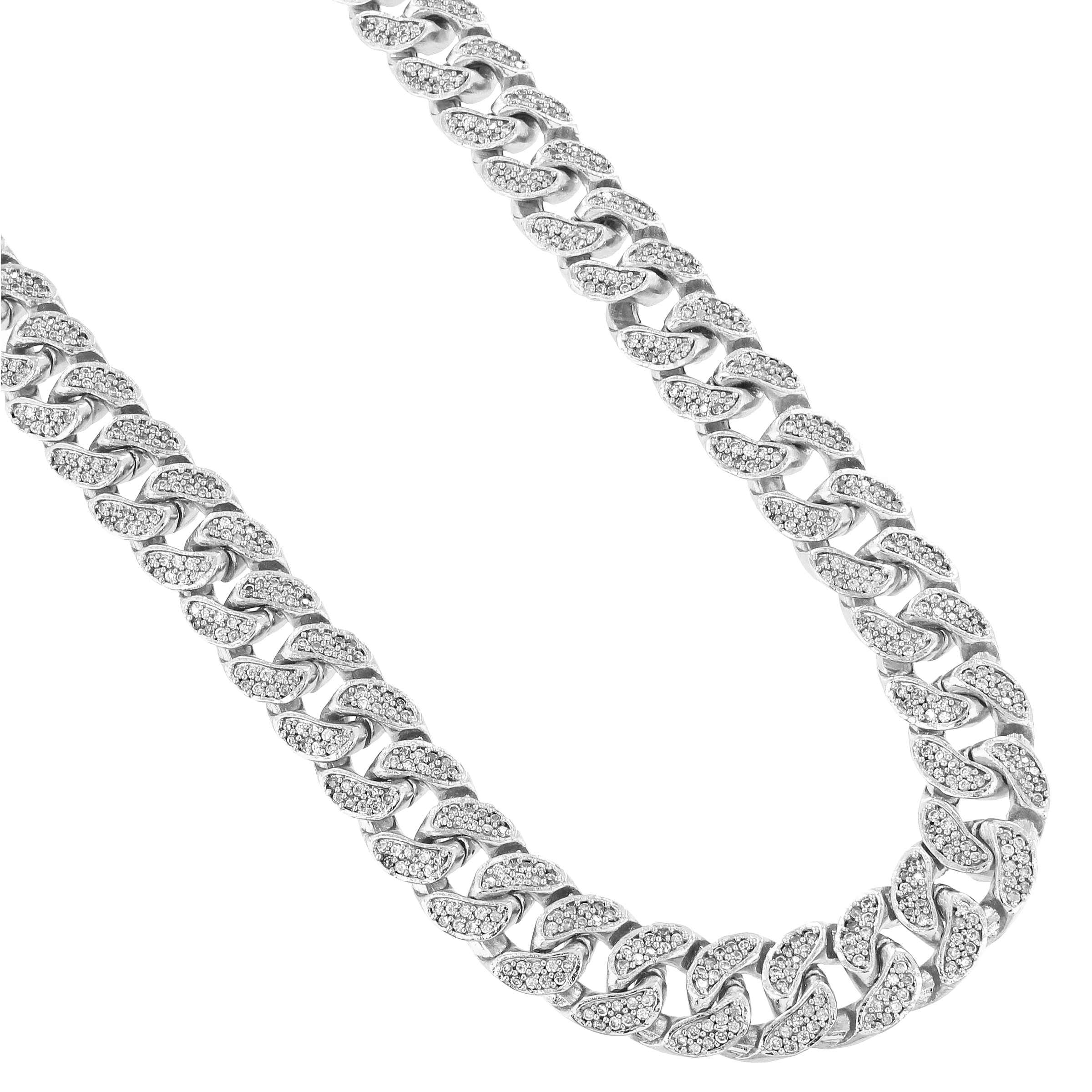 Mens Icy Miami Cuban Link Chain 18Inch 14K White Gold Finish 11MM Necklace Silver Choker