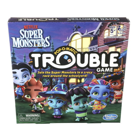 Trouble Super Monsters Edition Board Game For Kids Ages 5 and up (Super Scary Halloween Party Games)