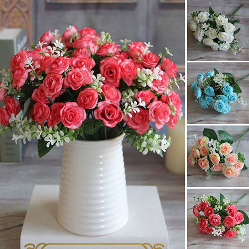Girl12Queen 1 Bouquet 15 Heads Artificial Rose Flower Home Room Decoration Xmas Party Decor