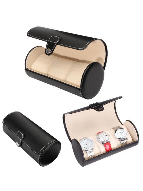 Portable 3 Slot Travel Watch Case Roll PU Leather Wristwatch Jewelry Display Storage Box Organizer