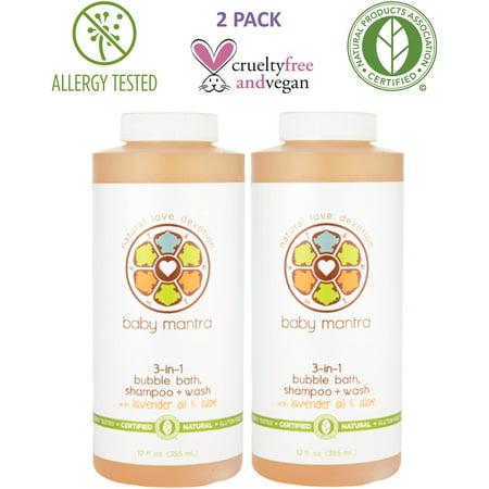 Baby Mantra 3-in-1 Bain moussant, shampooing + lessive, 12 fl oz (Paquet de 2)