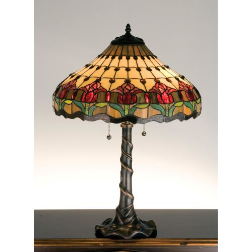 Meyda Tiffany 99270 Stained Glass / Tiffany Table Lamp from the Colonial Tulip Collection